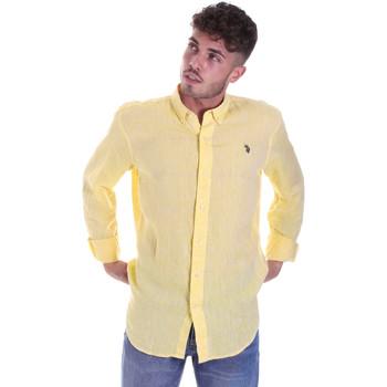 Υφασμάτινα Άνδρας Πουκάμισα με μακριά μανίκια U.S Polo Assn. 58574 50816 Κίτρινος