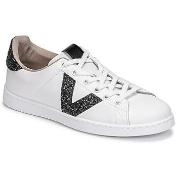 Παπούτσια Γυναίκα Χαμηλά Sneakers Victoria TENIS PIEL GLITTER Άσπρο / Black