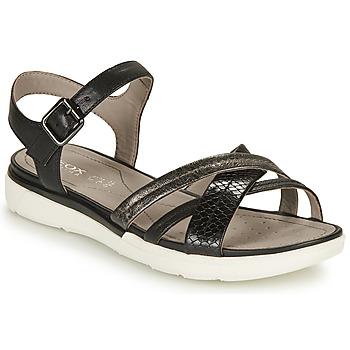 Παπούτσια Γυναίκα Σανδάλια / Πέδιλα Geox D SANDAL HIVER A Black / Silver