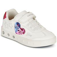 Παπούτσια Κορίτσι Χαμηλά Sneakers Geox SKYLIN GIRL Άσπρο / Black / Ροζ