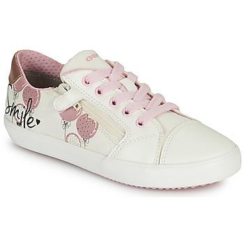 Παπούτσια Κορίτσι Χαμηλά Sneakers Geox GISLI GIRL Άσπρο / Ροζ