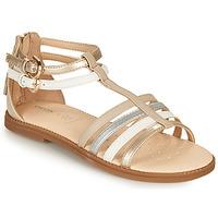 Παπούτσια Κορίτσι Σανδάλια / Πέδιλα Geox SANDAL KARLY GIRL Beige / Silver / Άσπρο