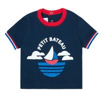 Υφασμάτινα Αγόρι T-shirt με κοντά μανίκια Petit Bateau MENU Marine