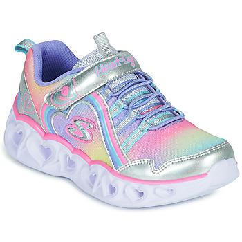 Παπούτσια Κορίτσι Χαμηλά Sneakers Skechers HEART LIGHTS RAINBOW LUX Silver / Ροζ