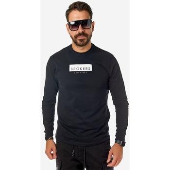 Υφασμάτινα Άνδρας Μπλουζάκια με μακριά μανίκια Brokers ΑΝΔΡΙΚΟ T-SHIRT Μαύρο