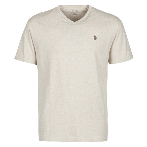 Υφασμάτινα Άνδρας T-shirt με κοντά μανίκια Polo Ralph Lauren T-SHIRT AJUSTE COL V EN COTON LOGO PONY PLAYER Beige