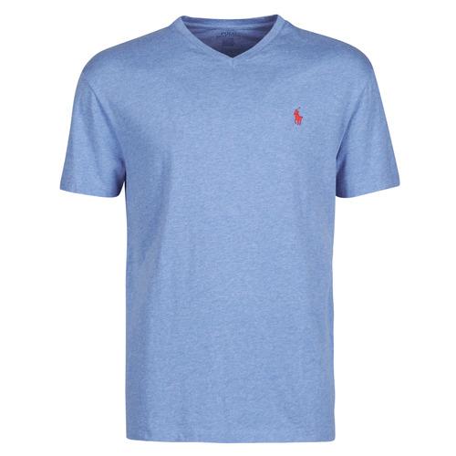 Υφασμάτινα Άνδρας T-shirt με κοντά μανίκια Polo Ralph Lauren T-SHIRT AJUSTE COL V EN COTON LOGO PONY PLAYER Μπλέ