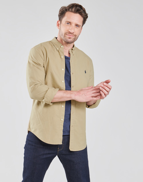 CHEMISE CINTREE SLIM FIT EN OXFORD LEGER TYPE CHINO COL BOUTONNE