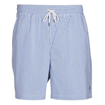Υφασμάτινα Άνδρας Μαγιώ / shorts για την παραλία Polo Ralph Lauren MAILLOT SHORT DE BAIN RAYE SEERSUCKER CORDON DE SERRAGE ET POCHE Μπλέ