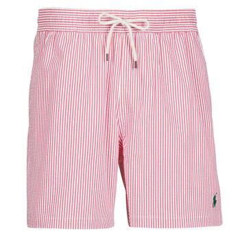 Υφασμάτινα Άνδρας Μαγιώ / shorts για την παραλία Polo Ralph Lauren MAILLOT SHORT DE BAIN RAYE SEERSUCKER CORDON DE SERRAGE ET POCHE Red / Άσπρο