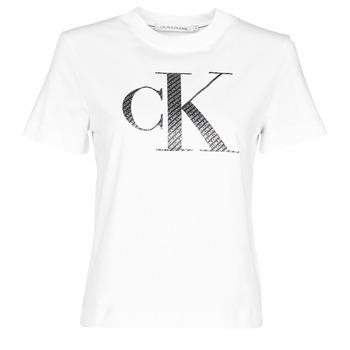 Υφασμάτινα Γυναίκα T-shirt με κοντά μανίκια Calvin Klein Jeans SATIN BONDED FILLED CK TEE Άσπρο