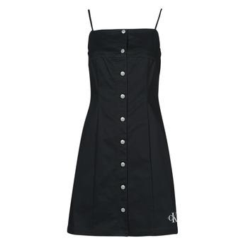 Υφασμάτινα Γυναίκα Κοντά Φορέματα Calvin Klein Jeans COTTON TWILL BUTTON DRESS Black