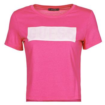 Υφασμάτινα Γυναίκα T-shirt με κοντά μανίκια Guess SS CN ADRIA TEE Fuschia
