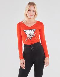 Υφασμάτινα Γυναίκα Μπλουζάκια με μακριά μανίκια Guess LS VN ICON TEE Red