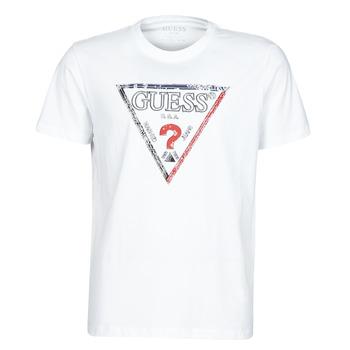 Υφασμάτινα Άνδρας T-shirt με κοντά μανίκια Guess TRIESLEY CN SS TEE Άσπρο