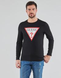 Υφασμάτινα Άνδρας Μπλουζάκια με μακριά μανίκια Guess CN LS ORIGINAL LOGO TEE Black