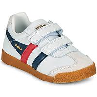 Παπούτσια Παιδί Χαμηλά Sneakers Gola HARRIER LEATHER VELCRO Άσπρο / Marine / Red