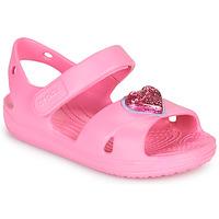 Παπούτσια Κορίτσι Σανδάλια / Πέδιλα Crocs CLASSICCROSSSTRAPCHARMSANDAL T Ροζ