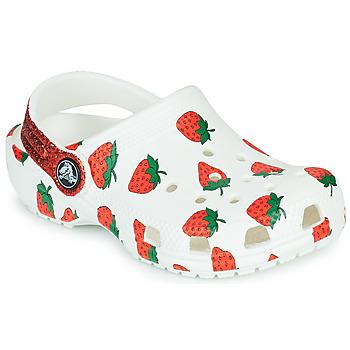 Παπούτσια Κορίτσι Σαμπό Crocs CLASSIC FOOD PRINT CLOG K Άσπρο / Ροζ