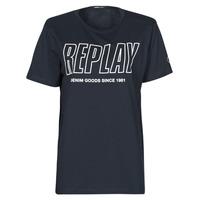Υφασμάτινα Άνδρας T-shirt με κοντά μανίκια Replay M3395-2660 Marine