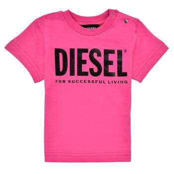 Υφασμάτινα Κορίτσι T-shirt με κοντά μανίκια Diesel TJUSTLOGOB Ροζ