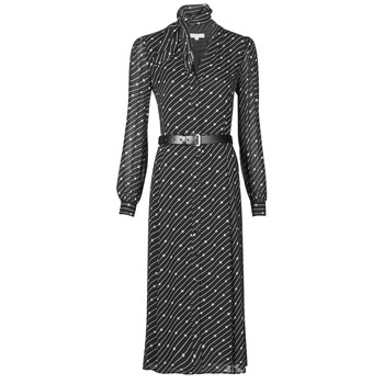 Υφασμάτινα Γυναίκα Μακριά Φορέματα MICHAEL Michael Kors CIRCLE LOGO SHRT DRS Black / Άσπρο