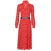Υφασμάτινα Γυναίκα Μακριά Φορέματα MICHAEL Michael Kors SIGNTRE LOGO SHRT DRS Red