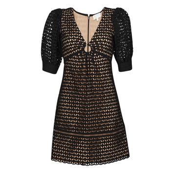Υφασμάτινα Γυναίκα Κοντά Φορέματα MICHAEL Michael Kors GEO EYELET MINI DRESS Black