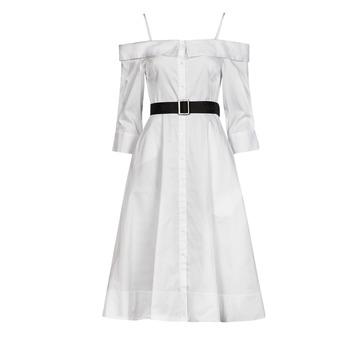Υφασμάτινα Γυναίκα Μακριά Φορέματα Karl Lagerfeld COLDSHOULDERSHIRTDRESS Άσπρο