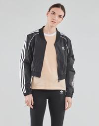Υφασμάτινα Γυναίκα Σπορ Ζακέτες adidas Originals SHORT TRACKTOP Black
