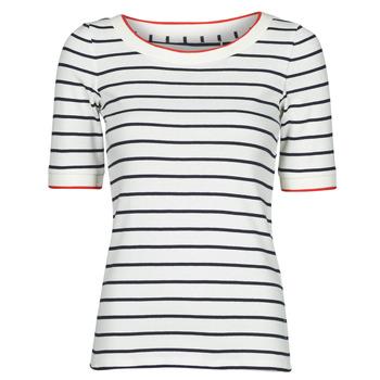 Υφασμάτινα Γυναίκα T-shirt με κοντά μανίκια Esprit RAYURES COL ROUGE Άσπρο