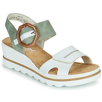 Παπούτσια Γυναίκα Σανδάλια / Πέδιλα Rieker SOLLA Green / Άσπρο