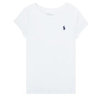 Υφασμάτινα Κορίτσι T-shirt με κοντά μανίκια Polo Ralph Lauren ZALLIE Άσπρο
