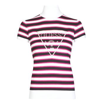 Υφασμάτινα Γυναίκα T-shirt με κοντά μανίκια Guess GERALDE TURTLE NECK Black / Άσπρο