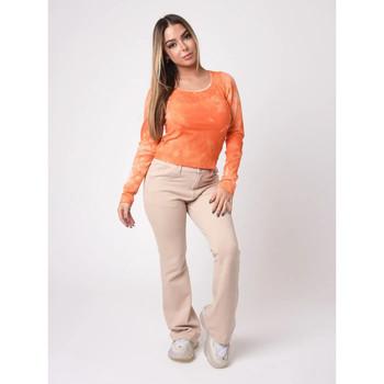 Υφασμάτινα Γυναίκα Μπλουζάκια με μακριά μανίκια Project X Paris  Orange