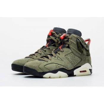 Παπούτσια Ψηλά Sneakers Nike Air Jordan 6 x Travis Scott Olive  Medium Olive/Black-Sail-University Red