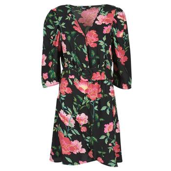 Υφασμάτινα Γυναίκα Κοντά Φορέματα Only ONLEVE 3/4 SLEEVE SHORT DRESS WVN Black / Ροζ