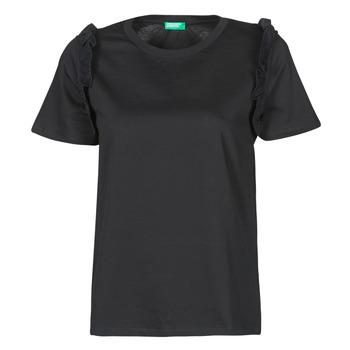 Υφασμάτινα Γυναίκα T-shirt με κοντά μανίκια Benetton MARIELLA Black