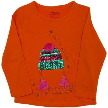 Υφασμάτινα Παιδί Μπλουζάκια με μακριά μανίκια Losan 026-1201AL Πορτοκάλι