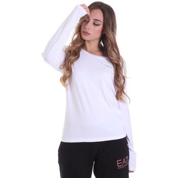 Υφασμάτινα Γυναίκα Μπλουζάκια με μακριά μανίκια Ea7 Emporio Armani 6HTT04 TJ28Z λευκό