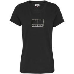 Υφασμάτινα Γυναίκα T-shirt με κοντά μανίκια Tommy Jeans DW0DW08473 Μαύρος