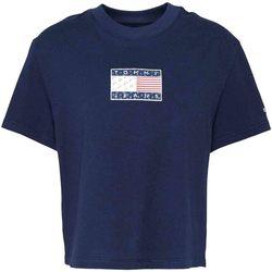 Υφασμάτινα Γυναίκα T-shirt με κοντά μανίκια Tommy Jeans DW0DW08482 Μπλε