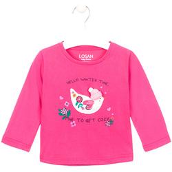 Υφασμάτινα Κορίτσι Μπλουζάκια με μακριά μανίκια Losan 026-1008AL Ροζ
