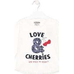 Υφασμάτινα Κορίτσι Μπλουζάκια με μακριά μανίκια Losan 026-1022AL λευκό