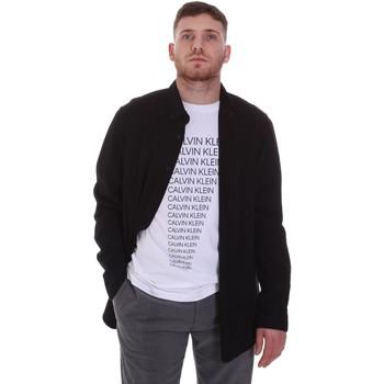 Υφασμάτινα Άνδρας Πουκάμισα με μακριά μανίκια Calvin Klein Jeans K10K105993 Μαύρος
