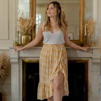 Υφασμάτινα Γυναίκα Φούστες Céleste TOURTERELLE Yellow / Άσπρο