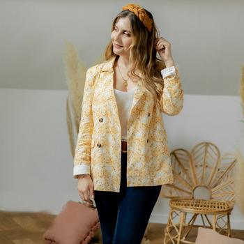 Υφασμάτινα Γυναίκα Σακάκι / Blazers Céleste ALIZE Yellow / Άσπρο