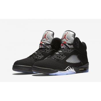 Παπούτσια Ψηλά Sneakers Nike Air Jordan 5 Black Metallic Silver Black/Fire Red-Metallic Silver-White