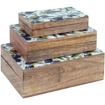 Σπίτι Κουτιά αποθήκευσης Signes Grimalt Set 3 Κουτιά Ελιές Marrón