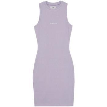 Υφασμάτινα Γυναίκα Κοντά Φορέματα Sixth June Robe femme  Rib Essential bleu lila